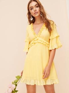 High Waist Bell Sleeve Frilled Dress