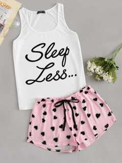 Letter Print Tank Top & Allover Heart Print Shorts PJ Set