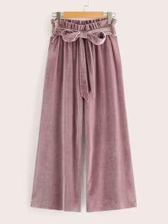 Paper-bag Waist Palazzo Leg Velvet Pants
