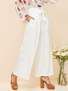 Button Fly Paperbag Waist Wide Leg Pants