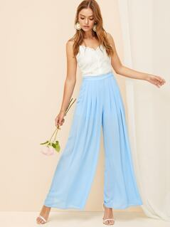 Pleated Front Semi Sheer Palazzo Pants