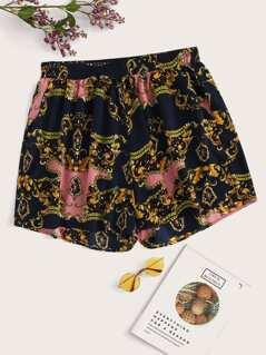 Plus Elastic Waist Chain & Scroll Print Shorts