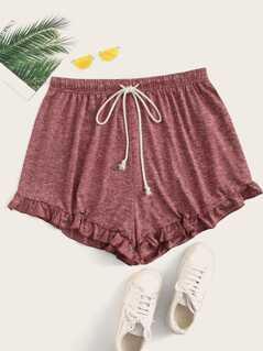 Plus Frilled Hem Drawstring Marled Shorts