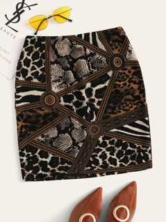 Mixed Animal Print Fitted Skirt