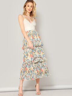 Elastic Waist Floral Layered Pleated Skirt