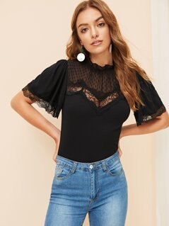 Dobby Mesh Yoke Lace Cuff Sleeve Top