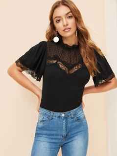 Lace Insert Mesh Yoke Mock-neck Slim Fitted Tee
