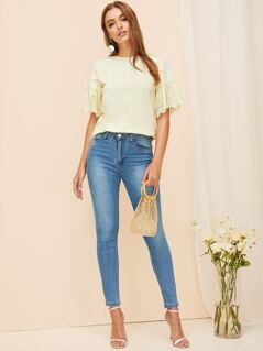 Embroidered Eyelet Cuff Solid Top