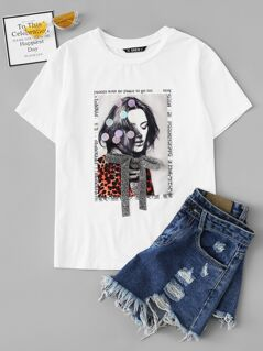 Bow Front Sequin Detail Figure Print Tee