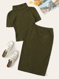 High Neck Rib-knit Fitted Tee & Skirt Set