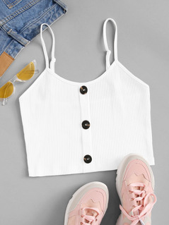 Button Up Rib-knit Cami Top