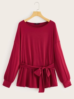 Batwing Sleeve Knot Front Tee