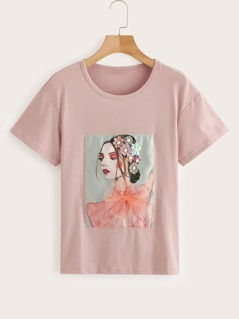 Figure With Beaded Appliques Detail Tee