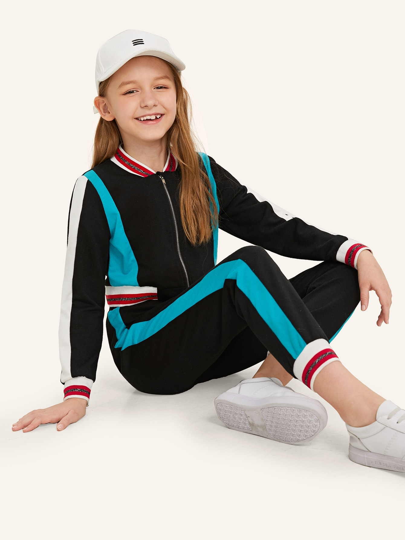 Купить Контрастная куртка с молнией и брюки комплект для девочек, Sashab, SheIn
