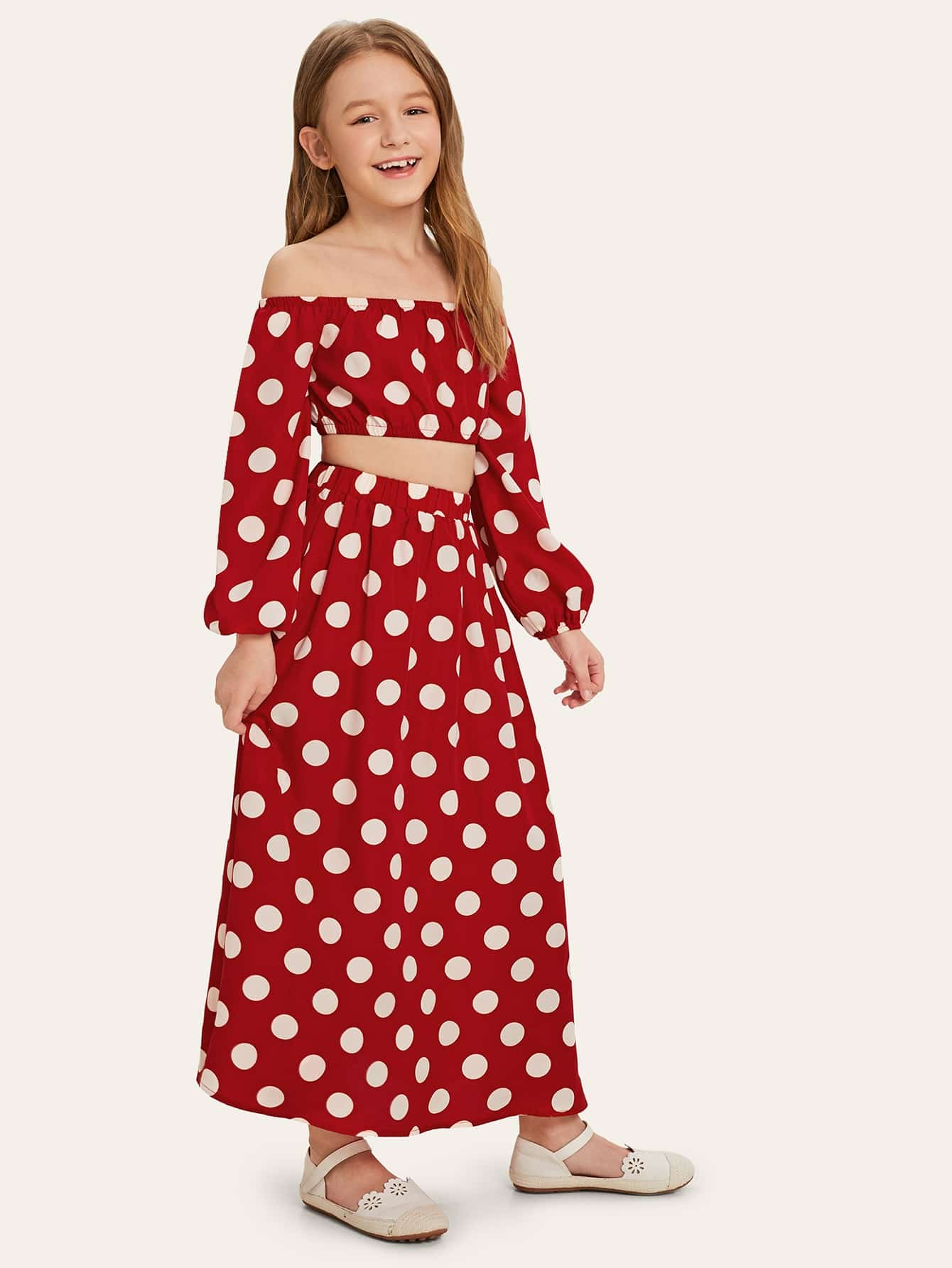 Купить Кроп топ в грпршек и юбка комплект для девочек, Sashab, SheIn