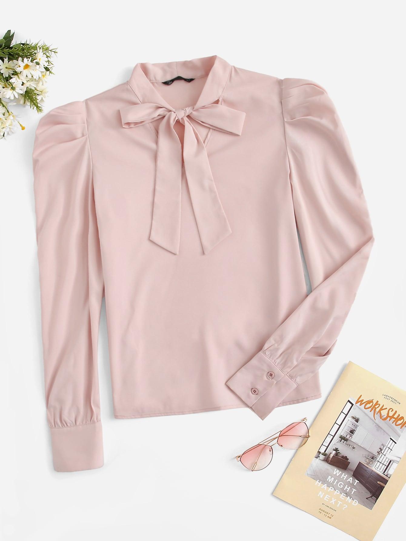 Купить Блуза с оригинальным рукавом и завязкой на шее, null, SheIn