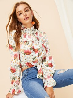 Frill Trim Shirred Floral Crop Top