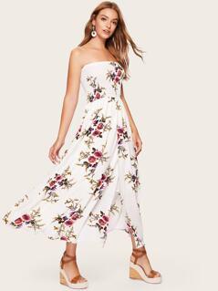 Shirred Panel Overlap Split Front Floral Tube Dress