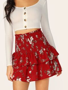Smocked Waist Tiered Layer Floral Mini Skirt