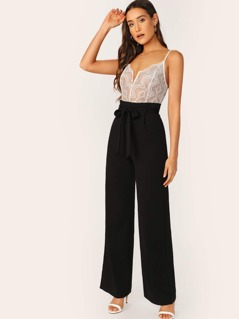 V-Wired Neck Sheer Lace Top Wide Leg Jumpsuit