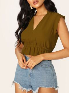 V-Neck Elastic Hem Raw Edge Cap Sleeve Blouse
