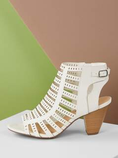 Cut Out Straps Chunky Heel Peep Toe Sandals