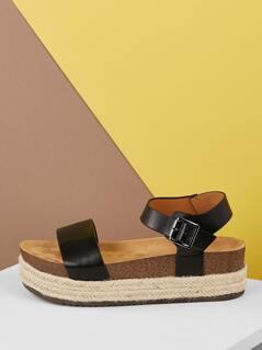 Open Toe Jute Platform Footbed Sandals