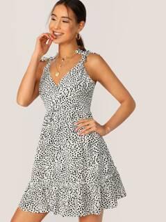 Surplice Neck Ruffle Hem Dalmatian Polka Dot Dress