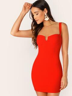 Underwire Bust Sleeveless Bodycon Mini Dress