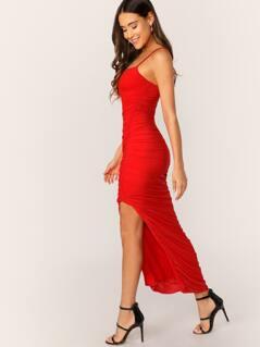 Shirred Detail Side Slit Mesh Bodycon Cami Dress