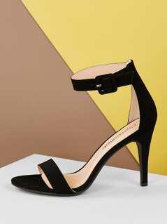 Classic Open Toe Ankle Strap Stiletto Heels