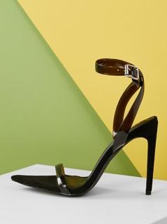 Pointy Sole Open Toe Ankle Wrap Stiletto Heels