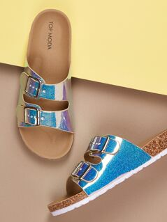 Glitter Twin Buckle Footbed Slip On Sandals