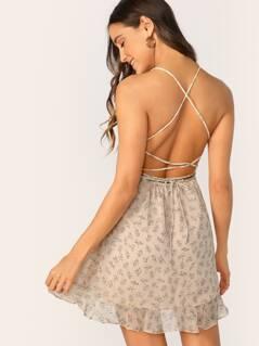 Shirred Front Ruffle Hem Metallic Floral Dress