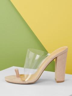 Toe Ring Transparent Band Block Heel Sandals