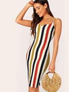 Bodycon Striped V-Neck Back Slit Dress