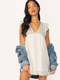 Embroidered Eyelet Lace Ruffle Trim Short Romper