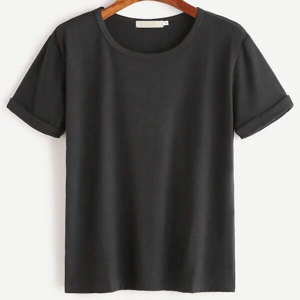 Zwart Casual Vlak Grote maten T-shirts