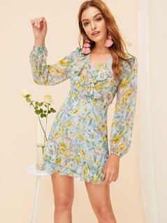 Layered Ruffle V-neck Floral Dress