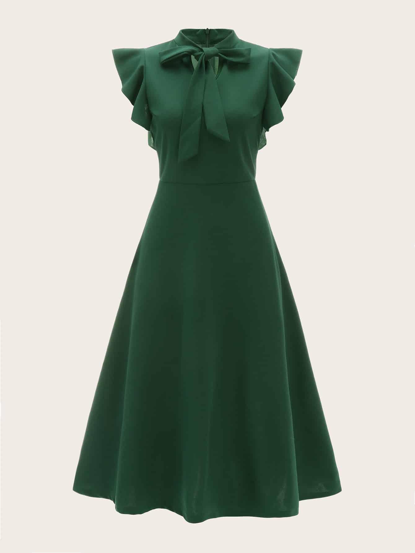 Купить Однотонное платье с оригинальным рукавом, null, SheIn