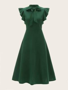 Tie Neck Flutter Sleeve Solid Dress