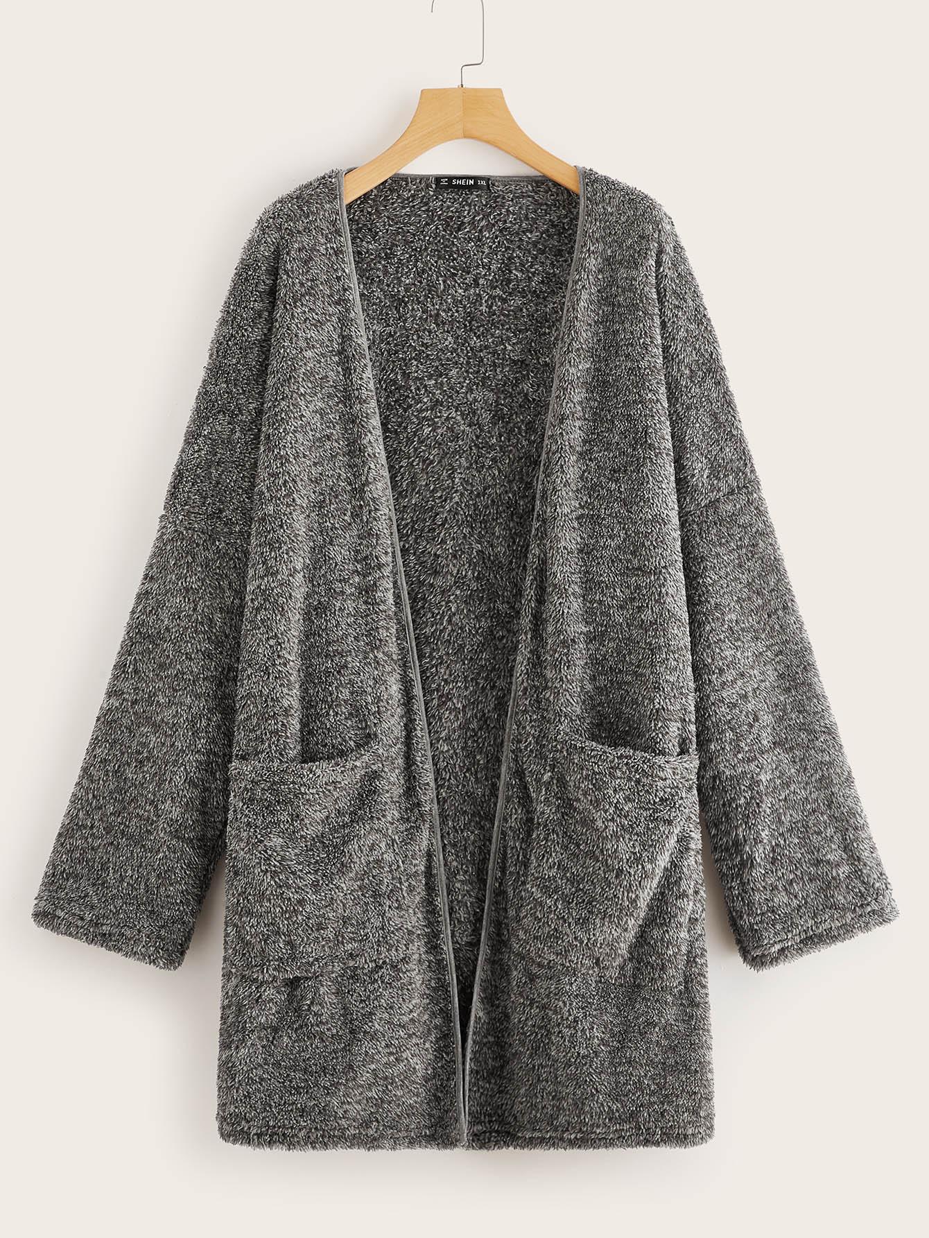 Купить Размер плюс тедди пальто с карманом, null, SheIn
