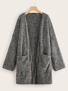 Plus Pocket Front Open Placket Teddy Coat