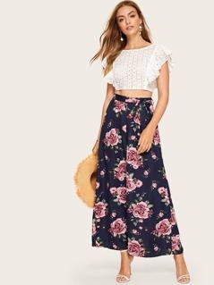 Allover Floral Belted Culotte Pants