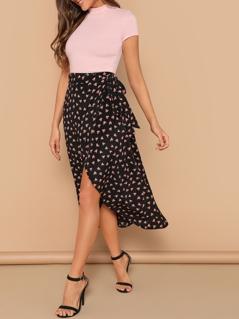 Waist Knot Asymmetrical Hem Heart Print Skirt