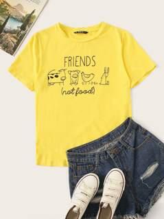 Letter & Animal Print T-shirt