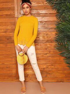 Lace Trim Rib-knit Top