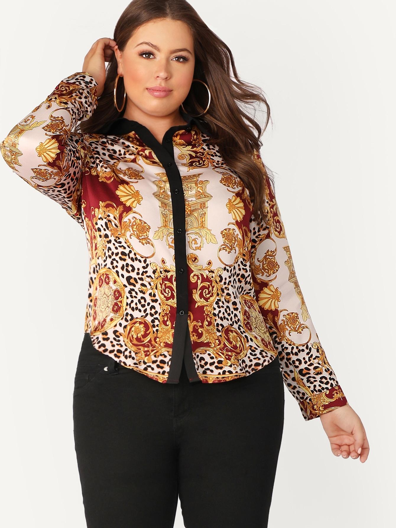 Купить Размера плюс рубашка с контрастным графическим принтом, Bailey Carr, SheIn