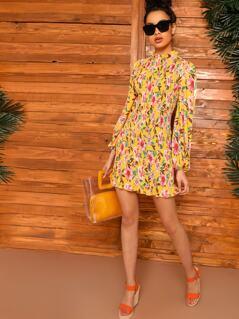 Lantern Sleeve Shirred Bodice Floral Print Dress