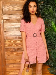 O-ring Belt Covered Button Schiffy Dress